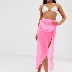 ASOS DESIGN Tall neon pink beach sarong w/ ruching